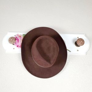 Wool Heathered Felt Brown Leather Band Hat